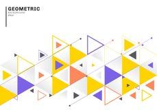 与五颜六色的三角和箭头的抽象背景在平的样式的模板事务的和通信 r 库存例证