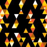 与五颜六色的三角和风格化糖味玉米的抽象无缝的样式在黑背景 向量 免版税库存图片