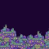 与五颜六色的乱画房子的手拉的背景 库存图片