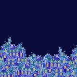 与五颜六色的乱画房子的手拉的背景 免版税图库摄影