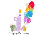 与五颜六色的五彩纸屑和气球的愉快的第一生日蜡烛传染媒介 库存图片