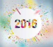 2016年 与五颜六色的五彩纸屑的庆祝背景 免版税图库摄影