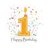 与五颜六色的五彩纸屑的愉快的第一生日蜡烛传染媒介和气球导航例证背景 库存照片