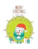 与五颜六色的企鹅漫画人物的圣诞快乐卡片 向量 库存图片