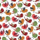 与五颜六色的传染媒介鸟的葡萄酒逗人喜爱的鸟传染媒介无缝的样式 库存图片