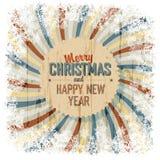 与五颜六色的光芒背景,传染媒介的圣诞快乐问候 免版税库存照片