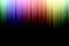 与五颜六色的光谱条纹的背景,与星bokeh 免版税库存照片