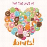与五颜六色的光滑的鲜美油炸圈饼的海报设计 向量例证