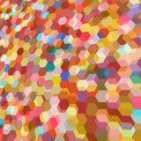 与五颜六色的六角形的多角形的抽象背景 免版税库存图片