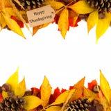 与五颜六色的叶子双边界的愉快的感恩标记在白色 免版税库存照片