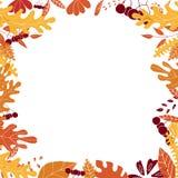 与五颜六色的叶子和莓果的秋天框架 在框架里面的空的空间 库存图片