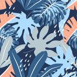 与五颜六色的叶子的热带无缝的样式在淡色背景 E 平的密林印刷品 r 向量例证