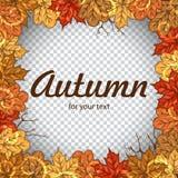 与五颜六色的叶子的秋天您的文本的框架和空间 秋天您的设计的传染媒介模板 免版税图库摄影