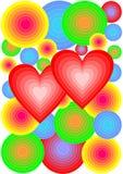 与五颜六色的圈子和心脏的背景在圆环 免版税图库摄影