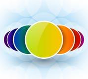与五颜六色的圈子的明亮的背景 免版税库存照片
