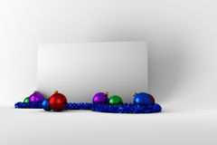 与五颜六色的圣诞节装饰的海报 图库摄影
