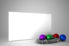 与五颜六色的圣诞节装饰的海报 库存图片