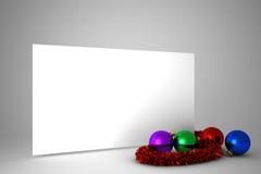 与五颜六色的圣诞节装饰的海报 免版税图库摄影