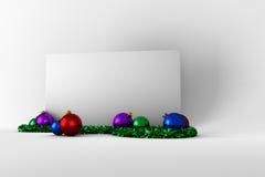 与五颜六色的圣诞节装饰的海报 免版税库存图片