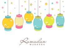 与五颜六色的垂悬的灯笼的赖买丹月Kareem庆祝 向量例证