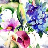 与五颜六色的夏天花的无缝的墙纸 免版税库存图片