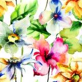 与五颜六色的夏天花的无缝的墙纸 免版税库存照片