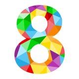 与五颜六色的多角形样式的第8象 向量例证