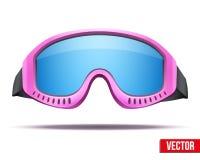 与五颜六色的女性桃红色雪板滑雪风镜 库存照片