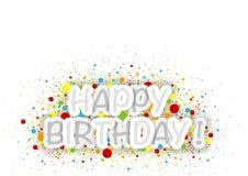 与五颜六色的小点的生日快乐背景 图库摄影