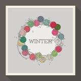 与五颜六色的小珠的抽象冬天设计 库存照片