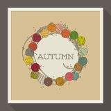 与五颜六色的小珠的抽象秋天设计。传染媒介 图库摄影