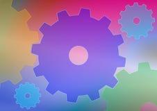 与五颜六色的嵌齿轮轮子的抽象背景 库存照片