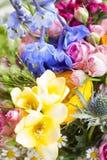 与五颜六色的开花的野花 免版税库存照片