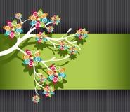 与五颜六色的开花的风格化结构树 库存图片