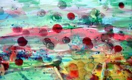 与五颜六色的形状的抽象油漆水彩纹理,象结构的蜡 免版税图库摄影