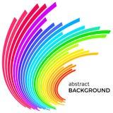 与五颜六色的彩虹线的抽象背景 与地方的色环您的文本的 库存例证