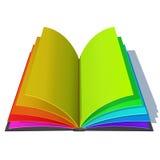 与五颜六色的彩虹页的被打开的书 免版税库存图片