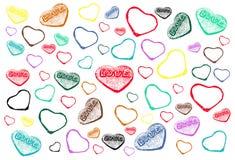 与五颜六色的心脏的情人节样式在白色背景 免版税图库摄影