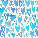 与五颜六色的心脏的无缝的水彩样式 库存照片