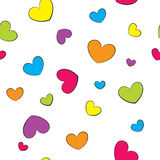 与五颜六色的心脏的无缝的背景 库存照片