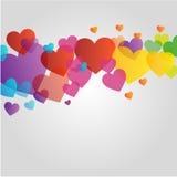 与五颜六色的心脏的背景或设计元素 免版税库存图片