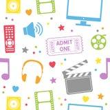 戏院电影无缝的样式 免版税库存图片