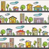 与五颜六色的房子和大厦的无缝的样式 向量例证