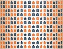 与五颜六色的房子的无缝的传染媒介样式 免版税库存照片