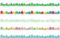 与五颜六色的房子的都市风景 免版税库存照片