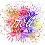 与五颜六色的手印刷品的Holi庆祝 免版税图库摄影