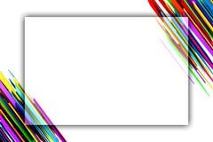 与五颜六色的抽象条纹的白色横幅在角落 免版税库存照片