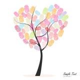 与五颜六色的指纹传染媒介的心脏树 库存图片