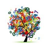与五颜六色的数字的树您的设计的 皇族释放例证