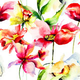 与五颜六色的春天花的无缝的墙纸 库存图片
